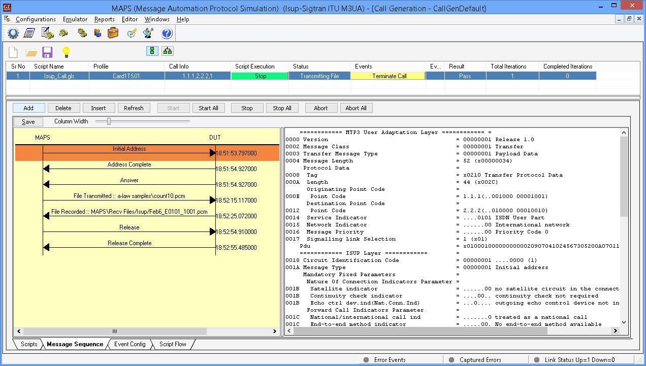 MAPS™ SIGTRAN (SS7 over IP) Protocol Emulator(SIGTRAN