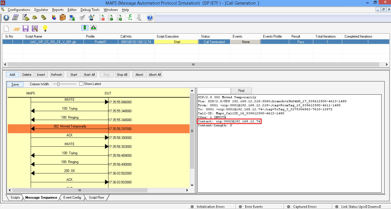 MAPS™ SIP Protocol Emulator (Generate and Receive SIP signalling