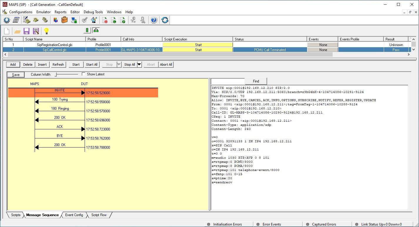 maps u2122 sip protocol emulator  generate and receive sip